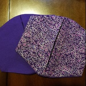 Purple and Silver Leaf Pattern Cotton Facemask